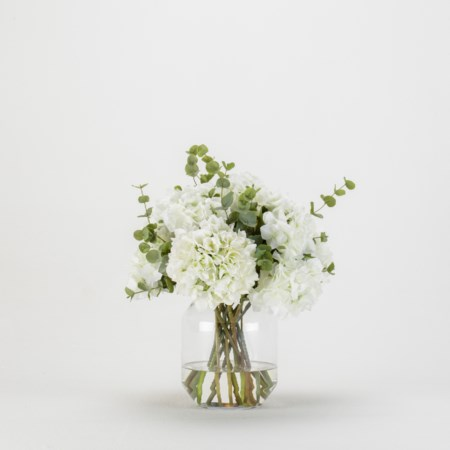 White Hydrangea Eucalyptus Bouquet in Glass Vase