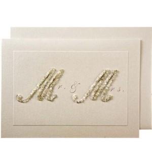 Beaded Mr & Mrs Wedding Card-15-1110W
