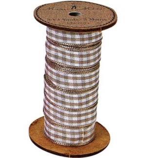 Ribbon Spool Brown Gingham-RN-BRN