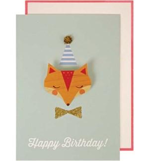 Fox Badge Greeting Card-16-0105H