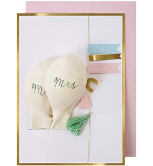 Mr & Mrs Balloon Card-16-0117W