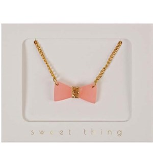 Glitter Bow Necklace-50-0016