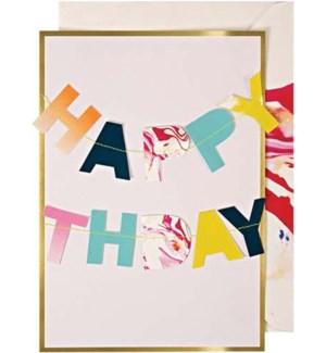 Happy Birthday Garland Card-16-0132H
