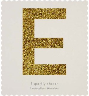 Chunky Gold Glitter E Sticker-61-0005