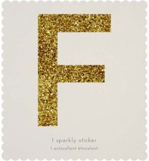 Chunky Gold Glitter F Sticker-61-0006