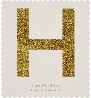 Chunky Gold Glitter H Sticker-61-0008