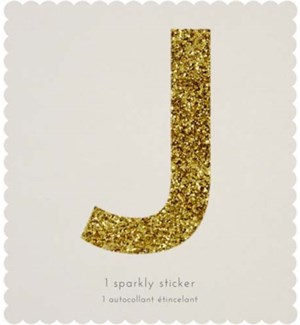 Chunky Gold Glitter J Sticker-61-0010