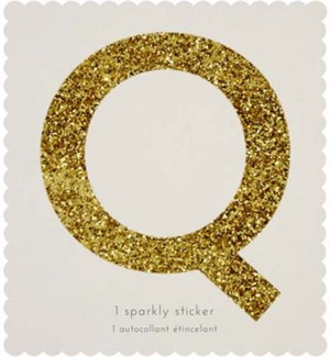 Chunky Gold Glitter Q Sticker-61-0017