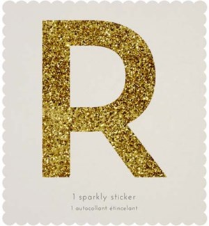 Chunky Gold Glitter R Sticker-61-0018