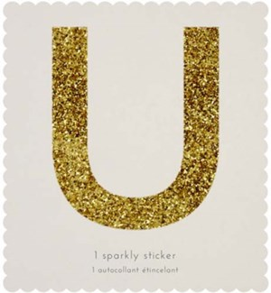 Chunky Gold Glitter U Sticker-61-0021