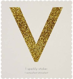 Chunky Gold Glitter V Sticker-61-0022