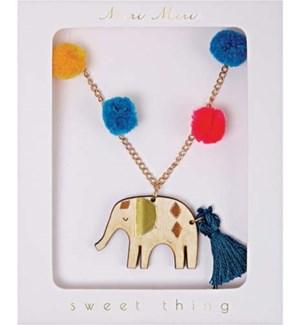 Pom Pom Elephant Necklace-50-0069