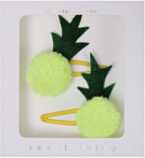Pineapple Pom Pom Hairclips-50-0075