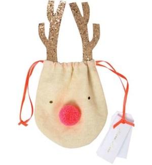 Reindeer Drawstring Pouch-50-0116