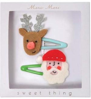 Santa And Reindeer Hair Clip-50-0125
