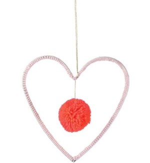 Wire And Wool Heart Decoration-30-0047