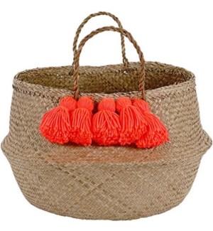 Neon Coral Tassel Basket-30-0070