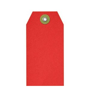 Red Hang Tag W/ Spruce Eyelet