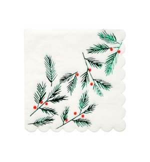 Festive Leaves & Berries Napkins Small