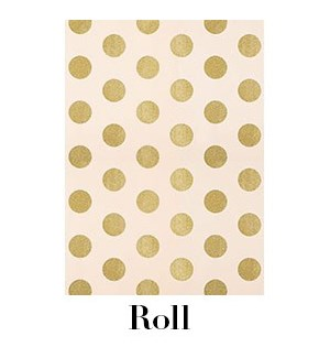 Blush with Gold Glitter Dots Continuous Roll