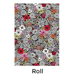 Black and White Sketch Flowers - 2 Sheets/Roll
