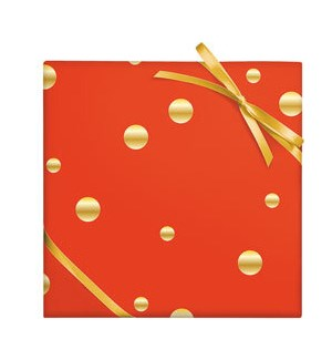 Gold Dots on Red - Foil on Stone Cont Roll Wrap