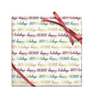 Happy Holidays Script - Foil on Stone Cont Roll Wrap