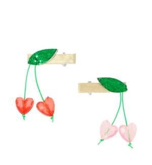 Cherry Bead Hair Clips