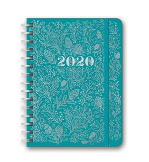 2020 Floral Vines (Teal) Deluxe Compact Flexi Planner