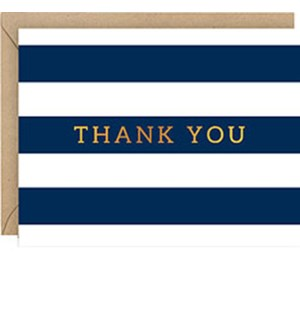 Navy Stripe Foil A2 Thank You (10Pk)