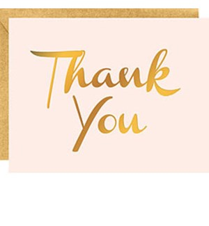 Gold Foil On Blush 4B Thank You (10Pk)