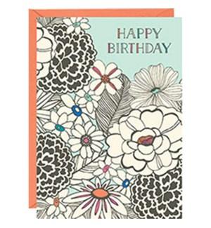 Sketch Floral Birthday A6