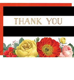 Stripe Floral 4B Foil Thank You (10 Pk)
