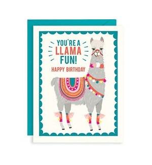 Llama Fun Birthday A2 Single Card