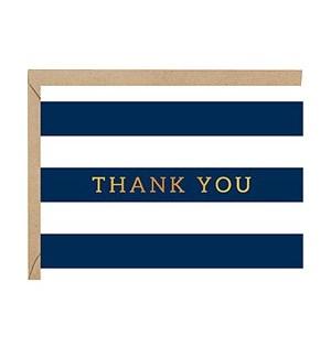 Navy Striped Foil A2 Thank Single Card