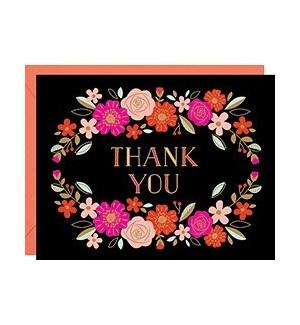 Floral Wreath Foil A2 Thank You Single Card