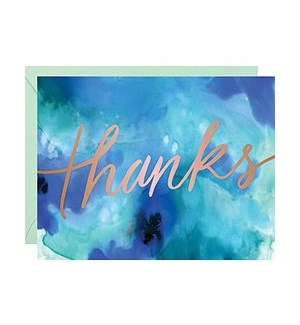 Blue Watercolor Foil A2 Thank You Single Card
