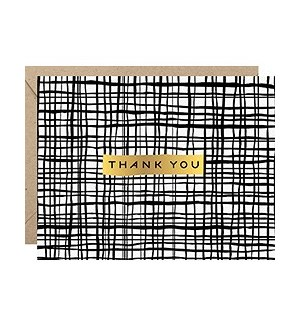Black Crossed Lines Foil A2 Thank You Single Card