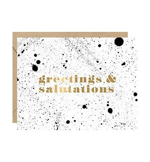 BW Splatter Greetings Foil A2 Single Card