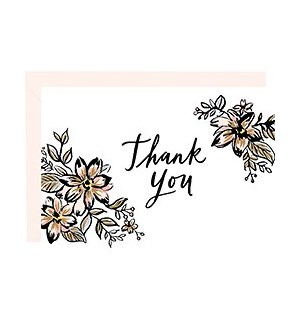 Floral Thank You Foil 4bar Single Card