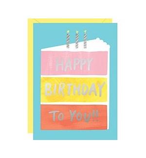 Birthday Cake Foil A6 Single Card