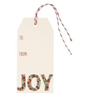 Joy Floral Foil Hang Tag (S/10)