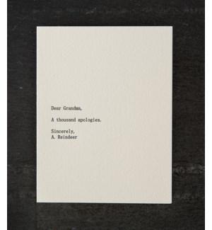 Dear blank grandma/reindeer w/ red  env