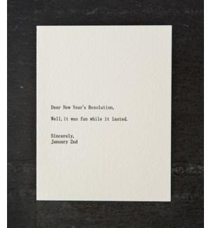 Dear blank new years/jan2 w/ silver env