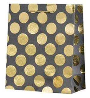 Gold Foil Dots On Slate Large Bag