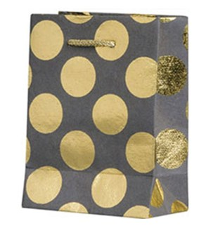 Gold Foil Dots On Slate Small Bag