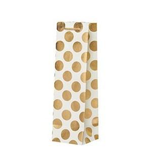 Big Gold Dots Ivory Wine Bag
