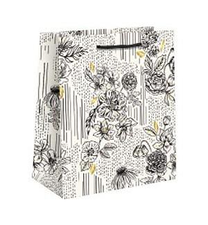 Black & White Floral Foil Small Bag