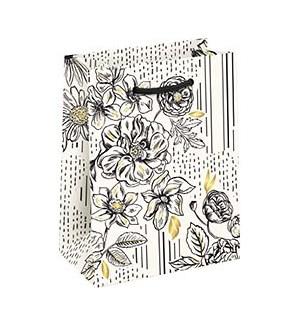 Black & White Floral Foil Medium Bag