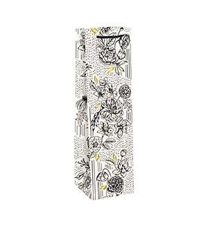 Black & White Floral Foil Wine Bag